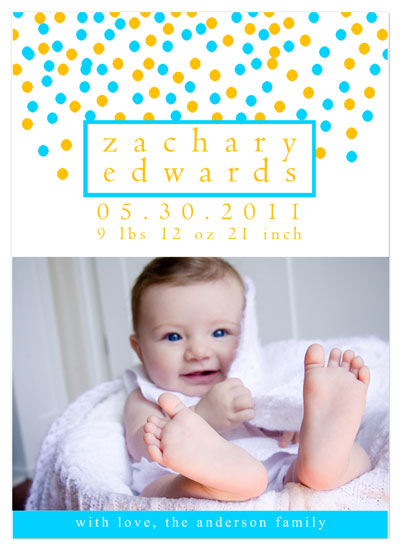 birth announcements - blue and orange baby confetti by Tenille Jordan
