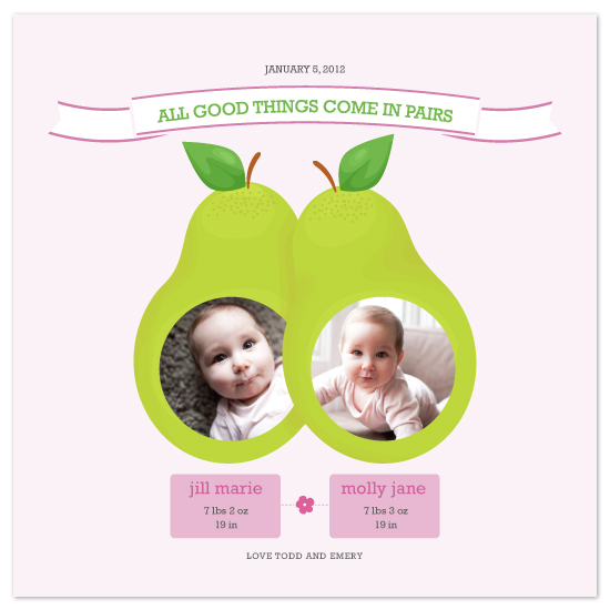 birth announcements - All Good Things Come in Pairs by Edub Graphic Design