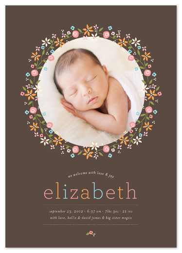 birth announcements - Sweet Floral Garland by Coco and Ellie Design