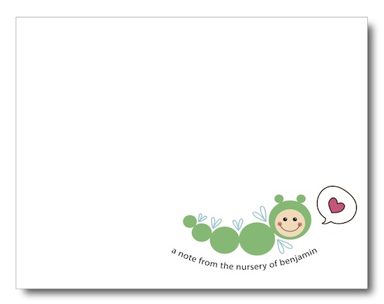 personal stationery - Flying Caterpillar Learning to Talk by Jessica Kim
