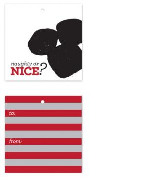 Naughty or Nice Coal Gift Tags