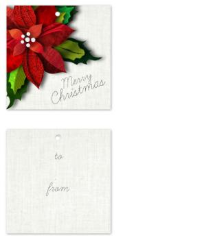 Fabric Poinsettia Gift Tags