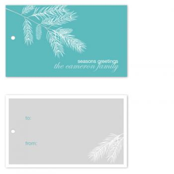 Frosted pine branch for the holidays Gift Tags