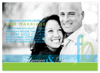 Blue green bands Wedding Invitations