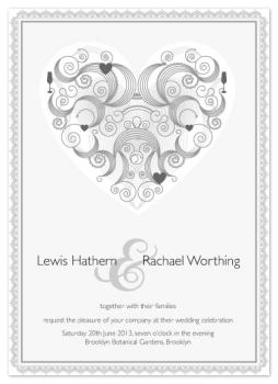 Swirled Hearts Wedding Invitations