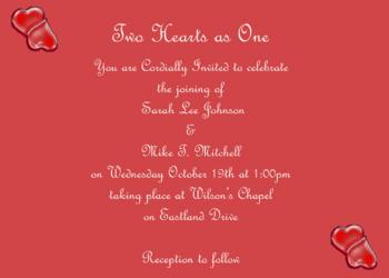Two Hearts as One Wedding Invitations