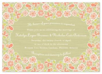 Spring Floral Patch Wedding Invitations