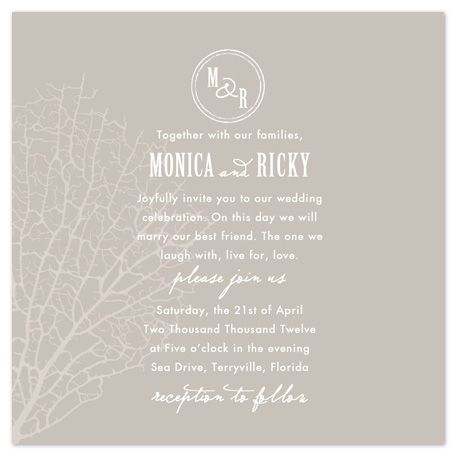 wedding invitations - Classic Coral by Just About Wed
