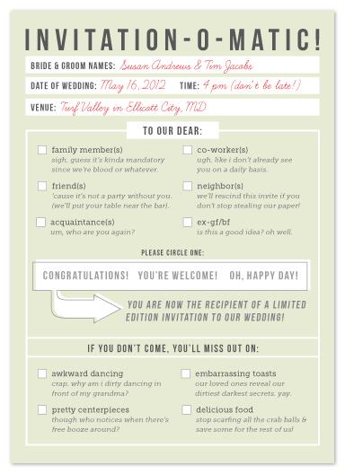 wedding invitations - Invitation-O-Matic! by Erin Pescetto