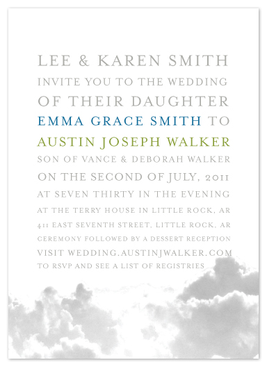 wedding invitations - I Love You More Than Clouds by Emma Walker