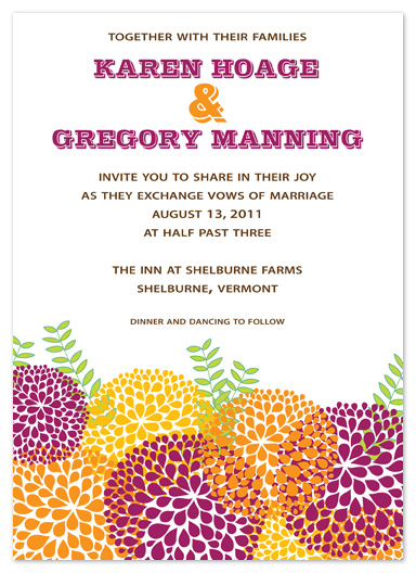 wedding invitations - Colorful Mums by Truly Noted