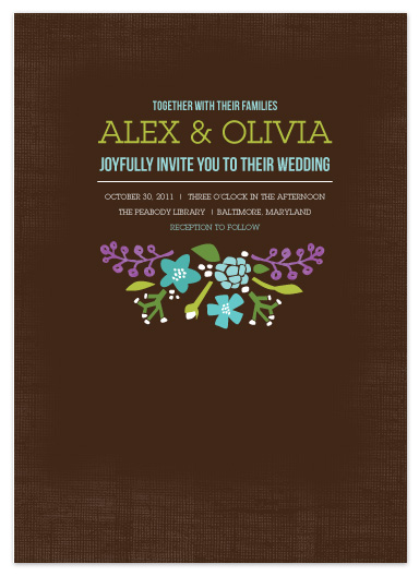 wedding invitations - Spring Flowers on Textured Brown by Vicky Barone
