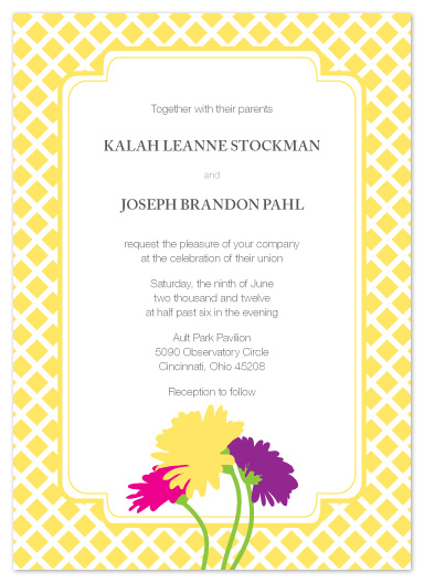 wedding invitations - Gerber Daisies and Lattice by Andi Pahl