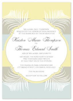 Palms and Bold Stripes Wedding Invitations