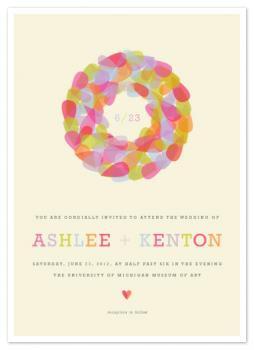 Pastel Wreath Wedding Invitations