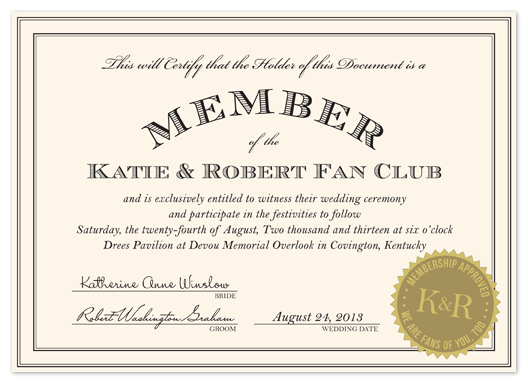 wedding invitations - Fan Club by Kim Dietrich Elam