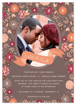 Oval Photo Floral Bouquet Wedding Invitations
