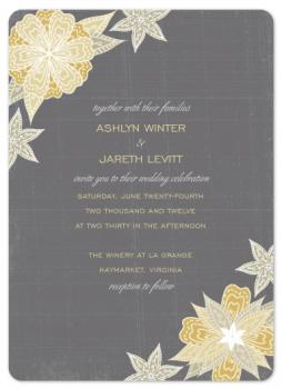 Charcoal & Floral  Wedding Invitations
