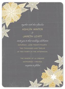 Charcoal & Floral  Wedding Invitations
