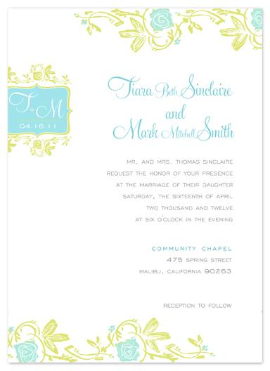 wedding invitations - Vintage Beach Flowers by Larkspur Paperie