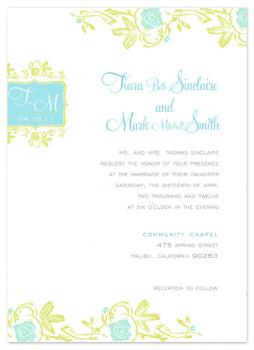Vintage Beach Flowers Wedding Invitations