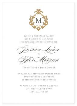 French Monogram Wedding Invitations