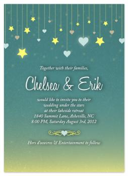 Stars and Hearts Evening Wedding Invitations