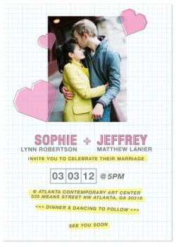 Playful Graph Paper Wedding Invitations