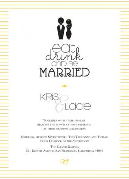 Eat, Drink, and be Married Sunshine Stripe Wedding Invitations