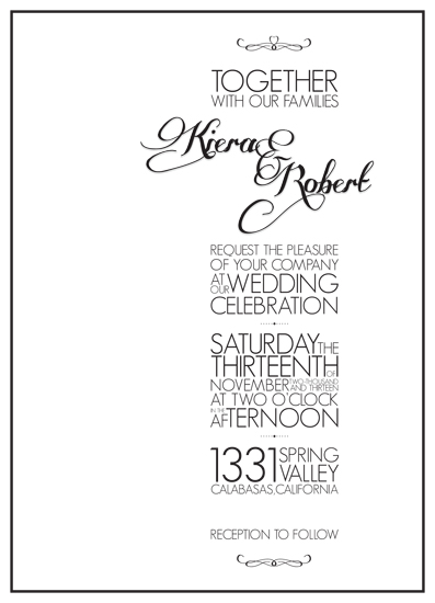 wedding invitations - Black & White Typographic Affair by carrie luu