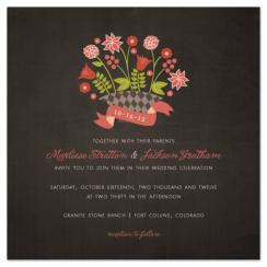 Flower Basket Wedding Invitations