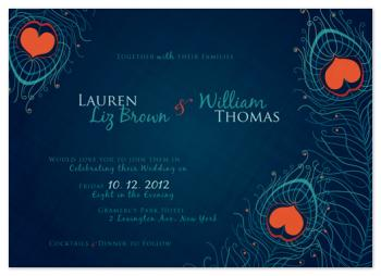 Peacock Hearts Wedding Invitations
