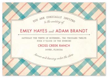 Vintage Plaid Wedding Invitations