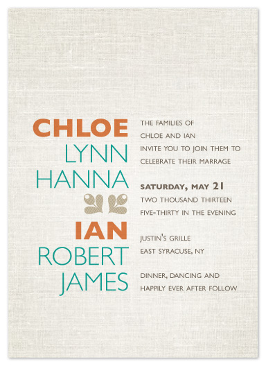 wedding invitations - aligned for each other by R studio