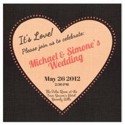 Retro Heart Wedding Invitations