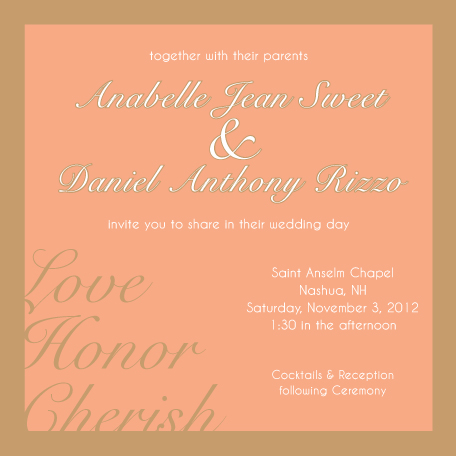 wedding invitations - Love, Honor, Cherish by Lisa Zizza McSweeney