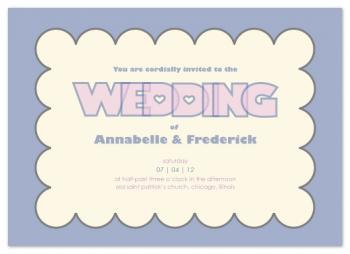 Modern scallop border Wedding Invitations
