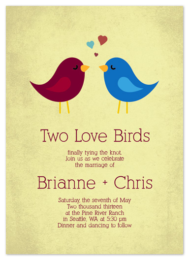 wedding invitations - Two Vintage Lovebirds by Simply Shira