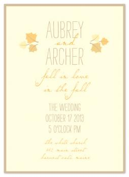 A Fall Love Story Wedding Invitations