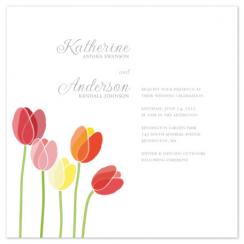 Minimalist Tulips Wedding Invitations
