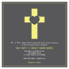 Scalloped Cross Wedding Invitations