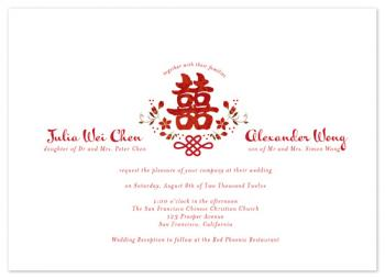 Floral Double Happiness Wedding Invitations