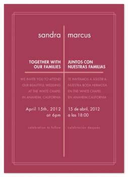Modern Spanish Cross Wedding Invitations
