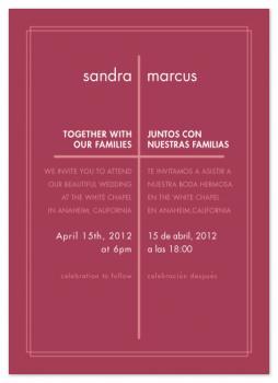 Modern Spanish Cross Wedding Invitations