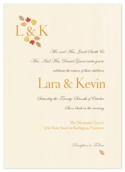 Aumumn Love Monogram Wedding Invitations