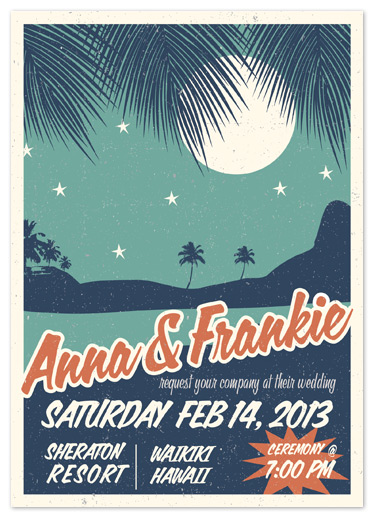 wedding invitations - Retro Hawaii by Gakemi Art+Design