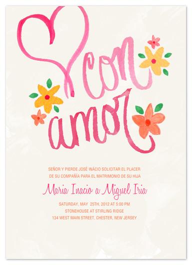 wedding invitations - Con Amor Hand Painted Invitation by Jen Serafini