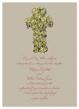 Floral Cross Wedding Invitations