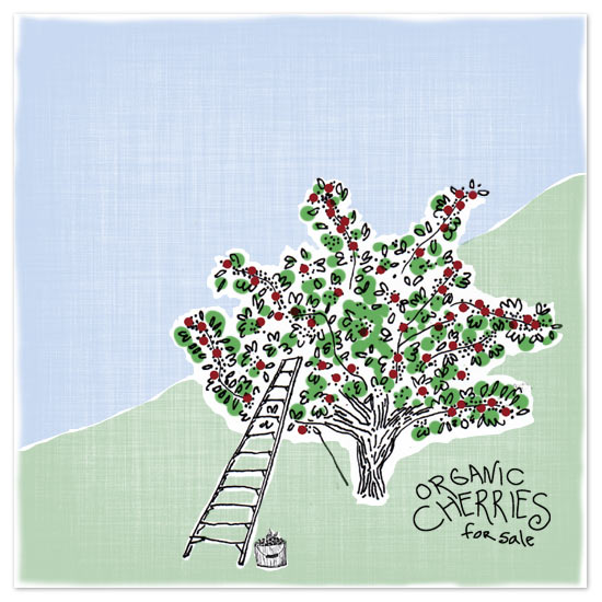art prints - A Perfect Day to Pick Cherries by Larkspur Paperie