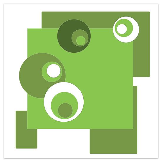 art prints - Retro Green White Circles by John Bouzane